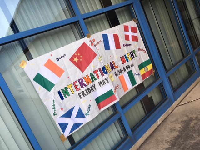 International Night sign on building window