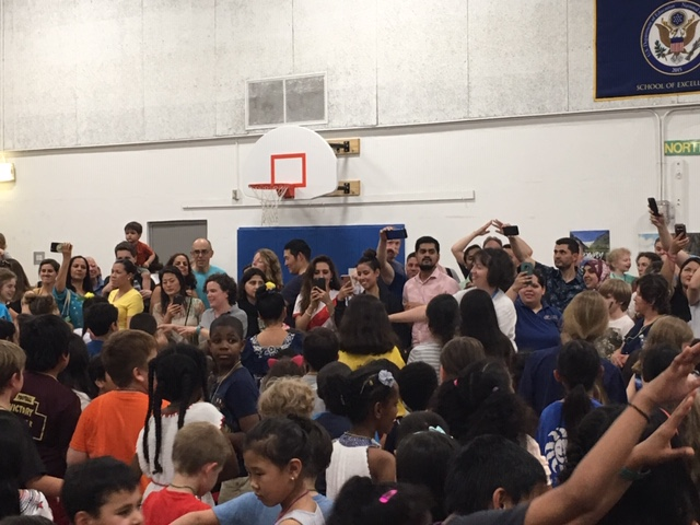 Group shot of families at in International Night performance