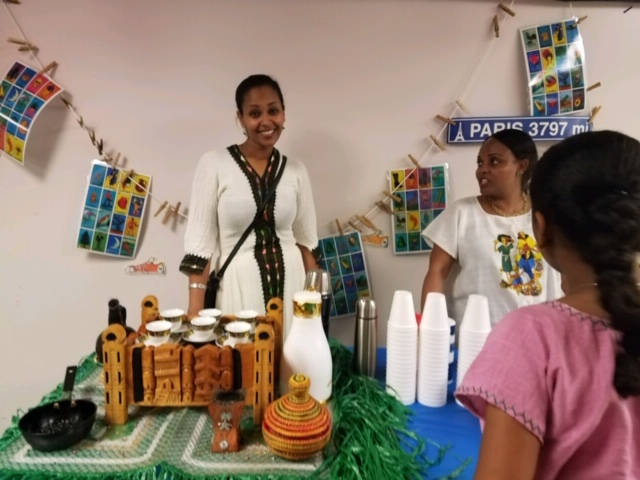 Parent volunteer in traditional dress